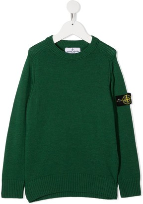 Stone Island Junior Logo-Patch Crew Neck Sweater