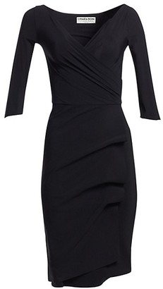 Chiara Boni Three Quarter-Sleeve Pleated Sheath Dress