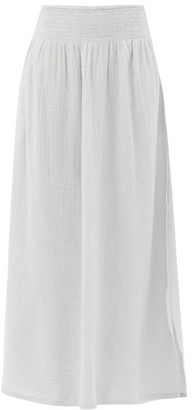 Anaak Camila Side-slit Longline Cotton-gauze Skirt - Light Blue
