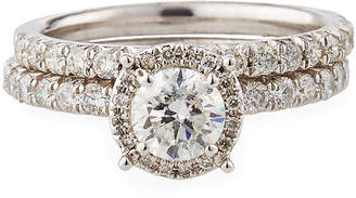 Diana M Halo Diamond Pave Bridal Ring Set