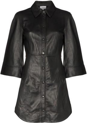 Ganni Wide-Sleeve Leather Mini Dress