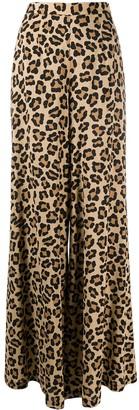 L'Autre Chose Wide Leg Leopard Print Trousers