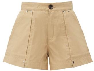 Chloé Patch-pocket Cotton-canvas Shorts - Womens - Light Brown