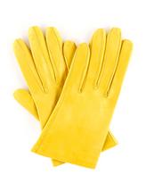 Carolina Amato Gloves Shorty Leather Gloves, Yellow