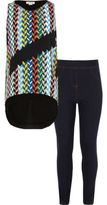 River Island Girls multi print top and leggings outfit