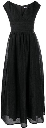 P.A.R.O.S.H. V-neck ruched waistband silk gown