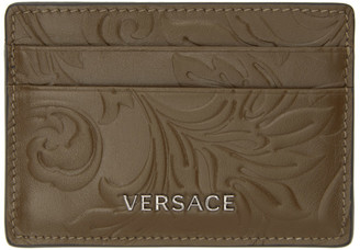 Versace Khaki Embossed Barocco Card Holder
