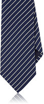 Ermenegildo Zegna Men's Striped Textured-Weave Silk Necktie-NAVY