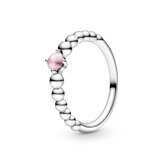 Pandora 198867C09-52 Women's Solitaire Annual Ring 925 Sterling Silver with Ring Size 52 Pink