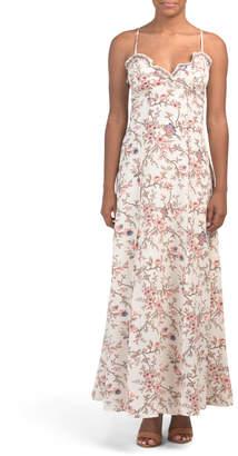 Floral Print Bubble Crepe Maxi Dress