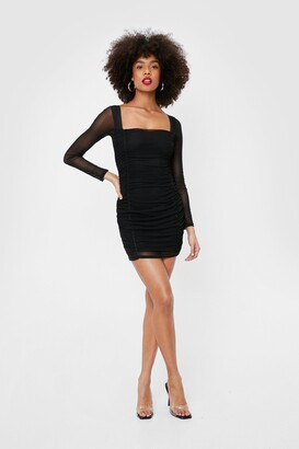 Nasty Gal Womens On Our Mesh Behaviour Ruched Mini Dress - black - 4