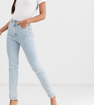 Asos Tall DESIGN Tall Farleigh high waisted slim mom jeans with rips in light acid wash-Blue