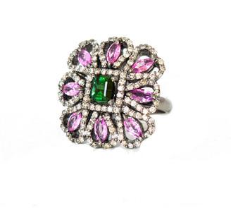 Arthur Marder Fine Jewelry Silver 4.50 Ct. Tw. Diamond & Gemstone Ring