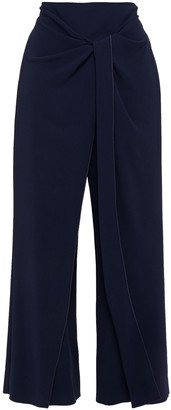Roland Mouret Draped Knotted Stretch-crepe Wide-leg Pants