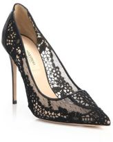 Valentino Lace Point-Toe Pumps