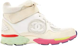 Chanel Ankle Strap White Leather Trainers