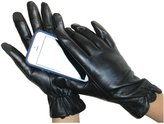 Fownes Touchpoint Women's Lambskin Leather Scalloped Cuff Smart Gloves 6.5/S