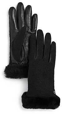 UGG Shorty Shearling-Cuff Tech Gloves