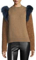Agnona Colorblock Sweater with Fox Fur Trim