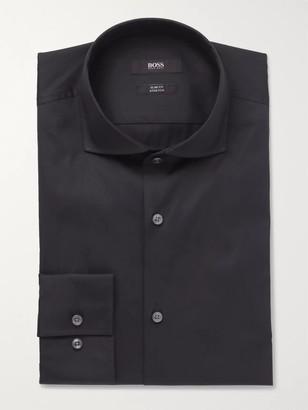 HUGO BOSS Blue Jason Slim-Fit Cutaway-Collar Stretch Cotton-Blend Shirt - Men - Blue