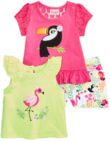 Nannette 3-Pc. Tank Top, T-Shirt & Shorts Set, Baby Girls (0-24 months)