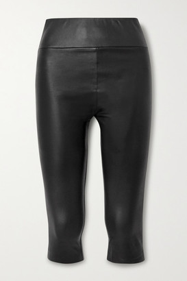 Sprwmn Cropped Leather Leggings - Black