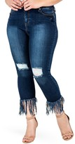 Standards & Practices Laura Distressed Fringe Crop Skinny Jeans (Plus Size)