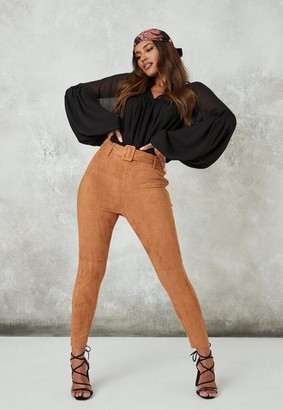 Missguided Tan Belted Faux Suede Trousers