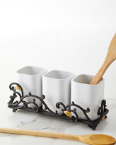 GG Collection G G Collection White 3-Piece Stoneware Utensil Holder with Metal Gold Leaf Base