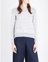 Sacai Satin-insert knitted cardigan