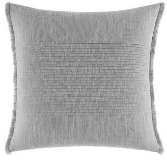 Nautica Bronwell Light Grey Fringe Pleated Square Pillow Bedding