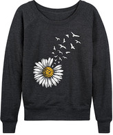 Instant Message Women's Women's Sweatshirts and Hoodies HEATHER - Heather Charcoal Daisy Turning To Birds Slouchy Pullover - Women & Plus