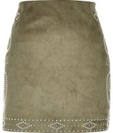 River Island Womens Khaki green stud mini skirt
