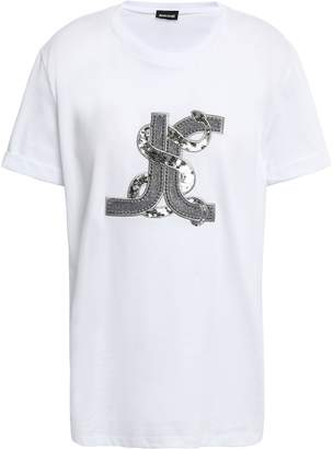 Just Cavalli Embellished Embroidered Cotton-jersey T-shirt