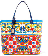 Dolce & Gabbana Textured Leather-trimmed Embellished Printed Canvas Tote - one size