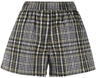 Ganni Check Print Shorts