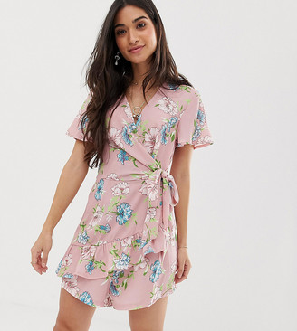 Sisters Of The Tribe wrap romper in flroal-Pink