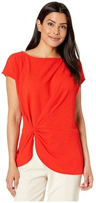 Vince Camuto Extend Shoulder Side Cinched Knit Crepe Top (Crimson Red) Women's Clothing