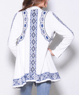 Paparazzi White & Navy Embroidery Drape-Front Open Cardigan