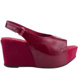 Antelope Wine Open-Toe Slingback Leather Wedge Sandal