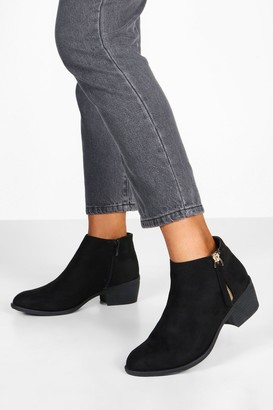 boohoo Zip Side Round Toe Chelsea Boots