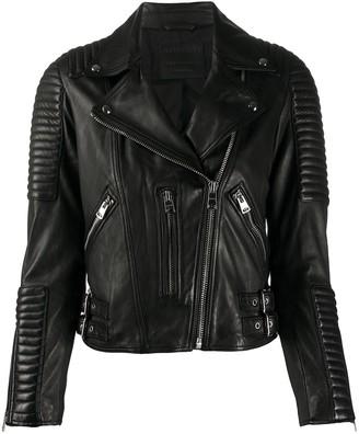 AllSaints Estella ribbed biker jacket