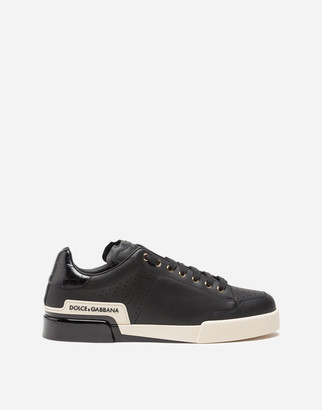 Dolce & Gabbana Calfskin Nappa Portofino Sneakers With Painted Sole