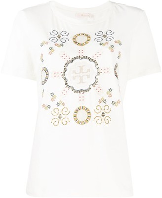 Tory Burch embroidered T-logo Medallion T-shirt