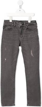 Emporio Armani Kids Distressed Mid-Rise Straight-Leg Jeans