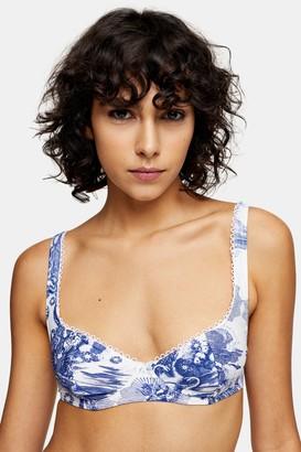 Topshop IDOL Blue Swan Bikini Top