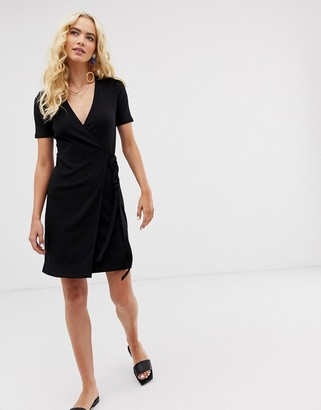 And other stories & wrap front dress in black