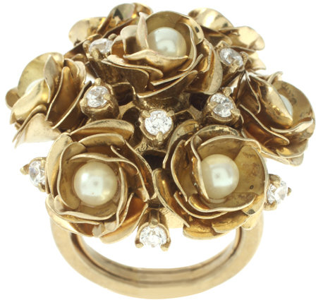 Juicy Couture Adjustable Rose Pearl Cluster Ring