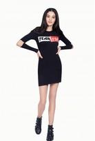 Select Fashion Fashion Womens Black Slogan Elbow Detail Bodycon Dress - size 8