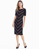 White House Black Market Elbow Sleeve Striped Knit Sheath Dress